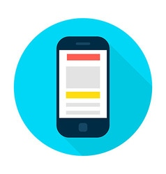 Mobile Phone Landing Page Flat Circle Icon vector