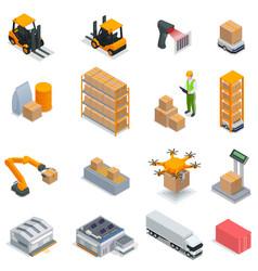 Modern warehouse isometric icon set vector