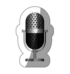 Monochrome silhouette with studio microphone vector