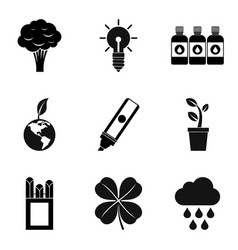 Naturally icons set simple style vector