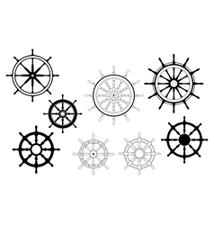 Nautical ships wheels vector