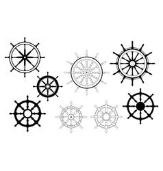 Nautical ships wheels vector