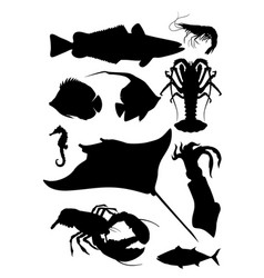 Ocean fauna shilhouette vector