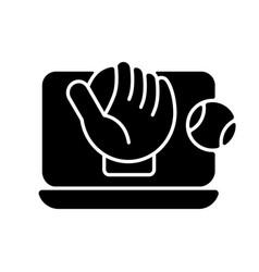 online baseball games black glyph icon vector image