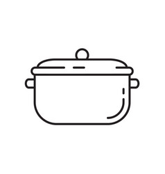 Pan with lid icon thin line art template vector