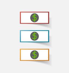 Paper clipped sticker money dollar bill vector