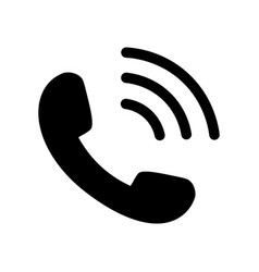 Phone icon in black with waves vector