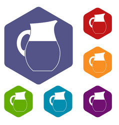 pitcher of milk icons set vector image