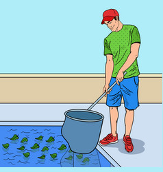 Pop art smiling man cleaning pool vector