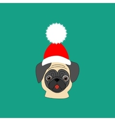 Pug in hat vector image