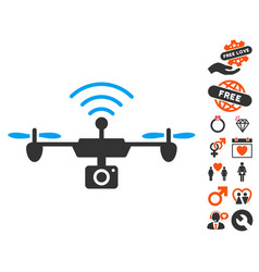 Radio camera airdrone icon with lovely bonus vector
