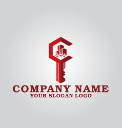 real estate key company logo vector image