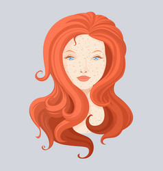 redhead beautiful girl with long hair vector image