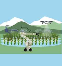 Robot and drone are watering vegetables vector