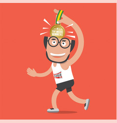 running man with golden medal vector image