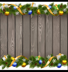 Seamless Christmas Old Board with Golden Ribbon vector