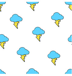 seamless pattern with yellow electric lightning vector image