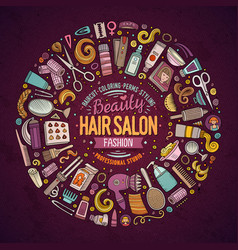 Set hair salon cartoon doodle objects vector