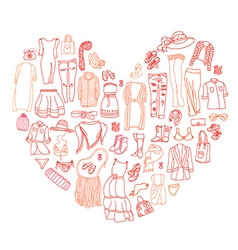 Set of different women clothes and accessories vector