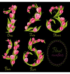 Set of floral decorative numbers vector image