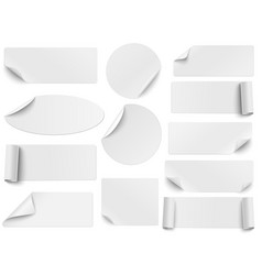 set white paper stickers different shapes vector image