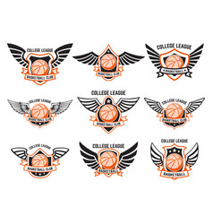 set winged emblems with basketball ball design vector image