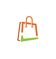 Shop green check bag symbol logo vector