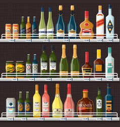 showcase with alcohol drinks or beverages vector image