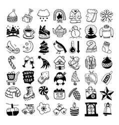 Sketch hand drawing winter icons set vector