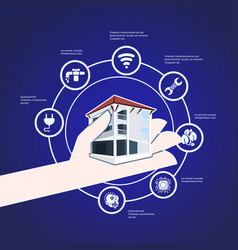 Smart house hand hold technology system vector