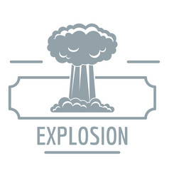 Smoke explosion logo simple gray style vector