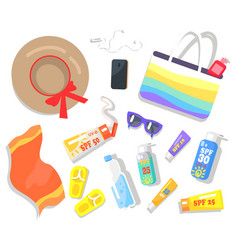 Summer elements beach set vector