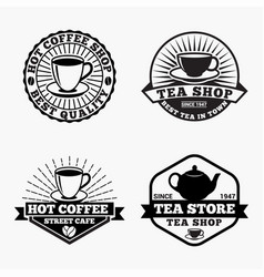 tea-coffee logos badges vector image