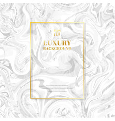 Template golden rectangle frame on white marble vector