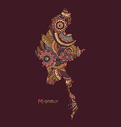 Textured map myanmar hand drawn ethno vector