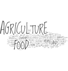 The indispensability of agriculture remains text vector