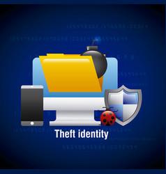 theft identity computer digital technology virus vector image