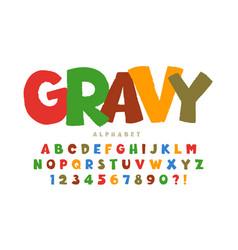 trendy comical original alphabet design colorful vector image