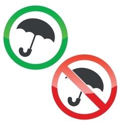 Umbrella permission signs set vector