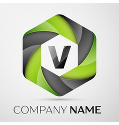 V Letter colorful logo in the hexagonal on grey vector