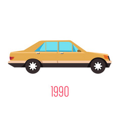 Vintage 90s car isolated icon retro vehicle vector