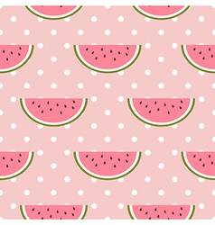 Watermelon seamless pattern with polka dot vector