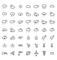 weather icon set in thin line style symbols vector image