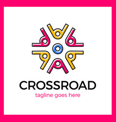 Wheel crossroad logotype vector