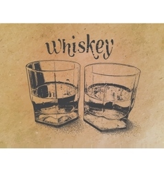 Whiskey in glasses on paper background engraved vector