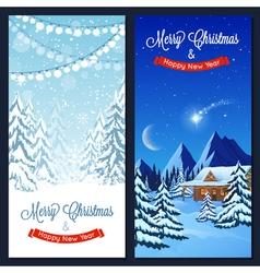 Winter Landscape Vertical Banners vector image