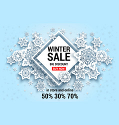 Winter snowflakes sale banner vector