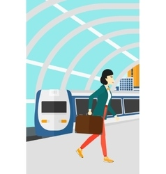 Woman going out train vector