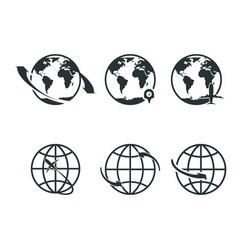 world icons set earth globe map for internet or vector image