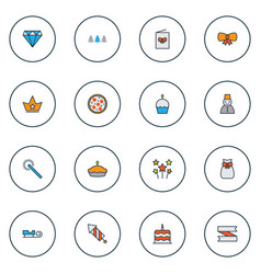 year icons colored line set with santa sleigh vector image